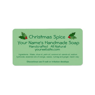 Xmas Holly Handmade Christmas Soap Labels Template
