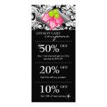 Xmas Holly Lips Salon Marketing Cards Damask Pink Rack Card