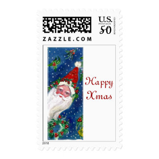 XMAS I LETTER /SANTA CLAUS WITH RED RIBBON AND CAT POSTAGE