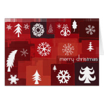 xmas, christmas, pine, trees, snow, snowflake, merry, holidays, gifts, mosaic, december, winter, stripes, squares, Card with custom graphic design