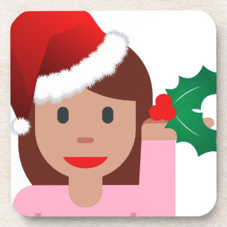 xmas information girl emoji coaster