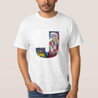 XMAS J LETTER /SANTA  CLAUS WITH VIOLIN MONOGRAM T-Shirt