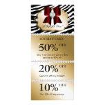 Xmas Jewel Spa Marketing Cards Zebra Gold Red Customized Rack Card