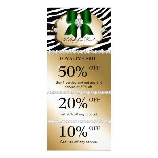 Xmas Jewels Spa Marketing Cards Zebra Gold Green Rack Card Design