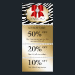 """Xmas Jewels Spa Marketing Cards Zebra Gold Red<br><div class=""""desc"""">Jewelry Salon Spa loyalty card / discount coupon program with heart jewel bow and stylish zebra print.  Just customize to your liking.  Great for any salon or spa or fashion boutique or makeup artist.</div>"""
