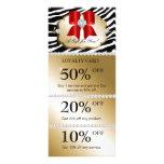 Xmas Jewels Spa Marketing Cards Zebra Gold Red Rack Card