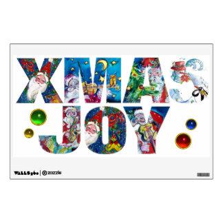 XMAS JOY MUSICAL SANTA  CHRISTMAS NIGHT PARTY WALL STICKERS