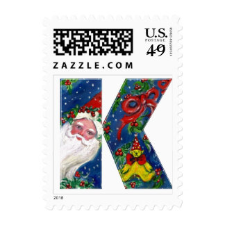 XMAS K LETTER /SANTA CLAUS WITH RED RIBBON AND CAT POSTAGE