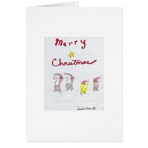 xmas kitty B 001 Greeting Cards