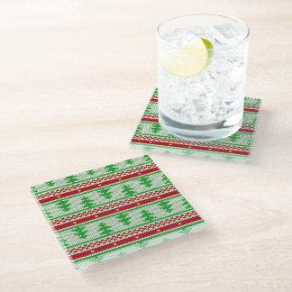 Xmas knitting seamless pattern 2 + your ideas glass coaster