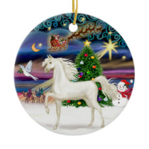 Xmas Magaic - Arabian Horse (white) Ceramic Ornament