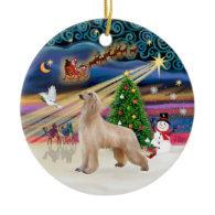 Xmas Magic - Afghan Hound (fawn) Christmas Ornament