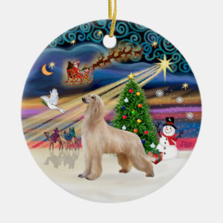 Xmas Magic - Afghan Hound (fawn) Double-Sided Ceramic Round Christmas Ornament