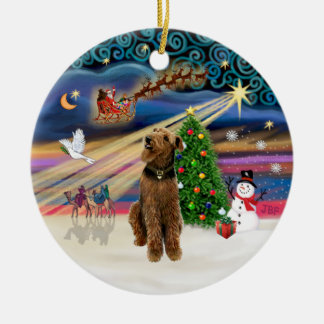 Xmas Magic - Airedale (looking up) Ceramic Ornament