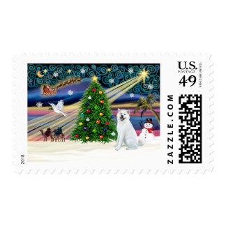 Xmas Magic-Akita White1 Stamp