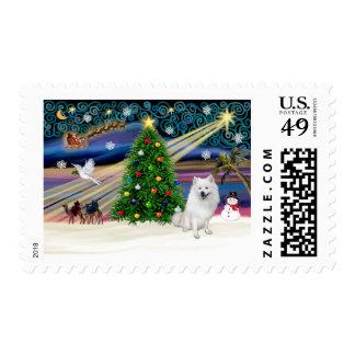 Xmas Magic-American Eskimo Dog Postage
