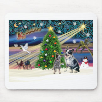 Xmas Magic-Aussie Cattle Dog pair Mouse Pad