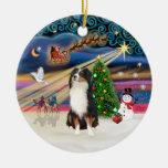 Xmas Magic - Aussie Shepherd (tri) Christmas Tree Ornament