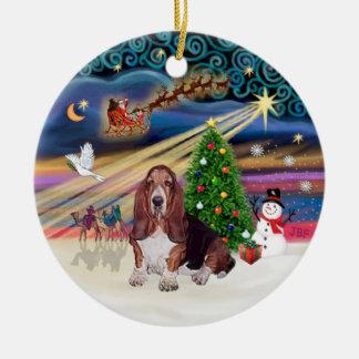 Xmas Magic - Basset Hound Christmas Tree Ornaments