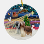 Xmas Magic - Bearded Collie (two standing) Ornaments