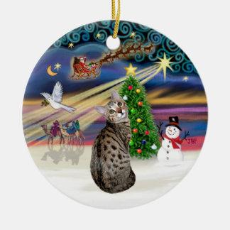 Xmas Magic -Bengal Cat Ceramic Ornament