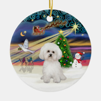 Xmas Magic - Bichon Frise 2 Ceramic Ornament