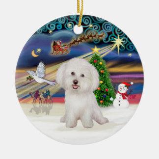 Xmas Magic - Bichon Frise #7 Double-Sided Ceramic Round Christmas Ornament