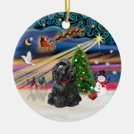 Xmas Magic - Black Cocker Spaniel Christmas Ornament