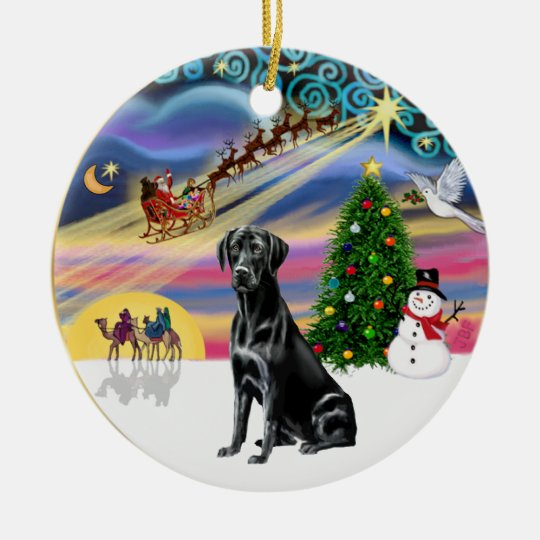 Xmas Magic - Black Lab Ceramic Ornament