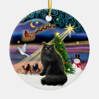 Xmas Magic - Black Persian cat Ceramic Ornament