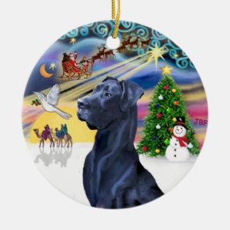 Xmas Magic* -Blue Great Dane (Head) (natural ears) Ceramic Ornament