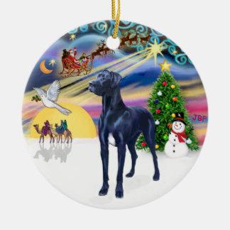 Xmas Magic* - Blue Great Dane (natural ears) Ceramic Ornament