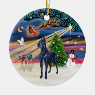 Xmas Magic - Blue Great Dane Double-Sided Ceramic Round Christmas Ornament
