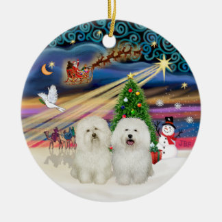 Xmas Magic - Bolognese (two) Double-Sided Ceramic Round Christmas Ornament