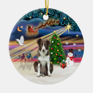 Xmas Magic - Border Collie (brown-white) Ceramic Ornament