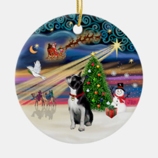 Xmas Magic - Boston Terrier (looking up) Ceramic Ornament