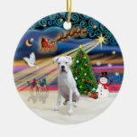 Xmas Magic - Boxer (white) Christmas Ornaments