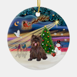 Xmas Magic - Brindle Cairn Terrier #18 Double-Sided Ceramic Round Christmas Ornament