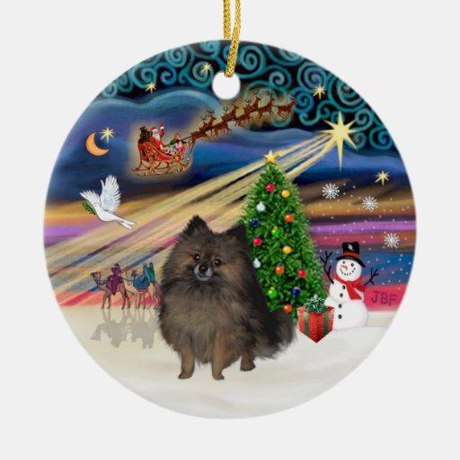 Xmas Magic - Brindle Pomeranian Christmas Ornaments