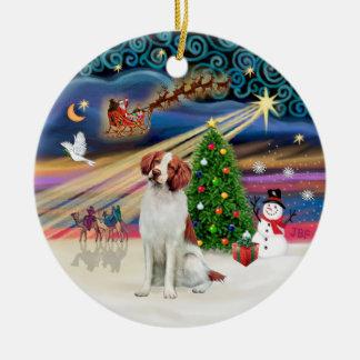 Xmas Magic - Brittany Spaniel Double-Sided Ceramic Round Christmas Ornament