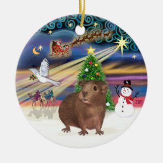 Xmas Magic - Brown Guinea Pig Double-Sided Ceramic Round Christmas Ornament