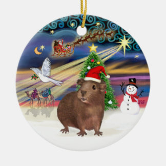 Xmas Magic - Brown Guinea Pig (Santa hat) Double-Sided Ceramic Round Christmas Ornament