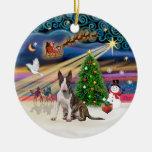 Xmas Magic - Bull Terrier (brindle-white0 Ceramic Ornament