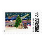 Xmas Magic-Cairn Pair-wheatn+brindle Postage Stamps
