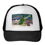 Xmas Magic-Cairn Pair-wheatn+brindle Trucker Hat