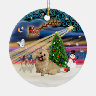 Xmas Magic - Cairn Terrier (wheaten 13) Double-Sided Ceramic Round Christmas Ornament