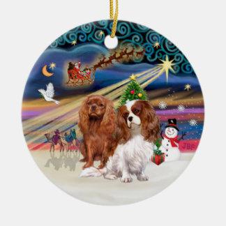 Xmas Magic - Cavaliers (two-Ruby-Blenheim) Christmas Ornaments