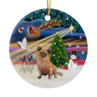 Xmas Magic - Chihuahua (long haired) Christmas Tree Ornaments