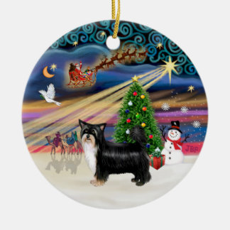 Xmas Magic - Chinese Crested (Puff-black-tan) Double-Sided Ceramic Round Christmas Ornament