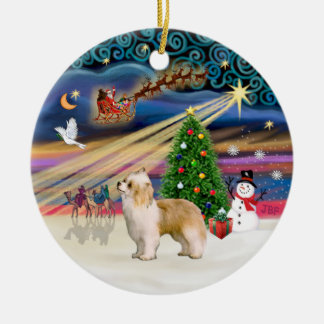 Xmas Magic - Chinese Crested (Puff white-cream) Double-Sided Ceramic Round Christmas Ornament